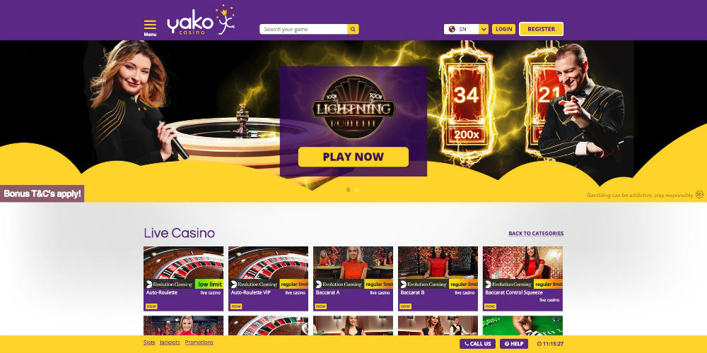 yako casino 22 free spins