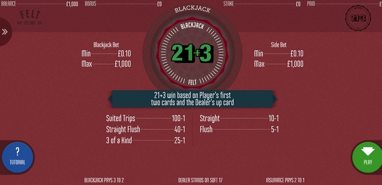 Blackjack 21+3 Bet
